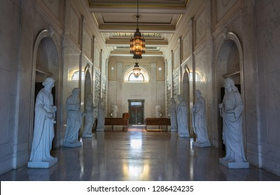 Los Angeles, California, United States of America - January 8, 2017. Interior view of Rudolph Valentino crypt at Hollywood Forever Cemetery in Los Angeles, CA.