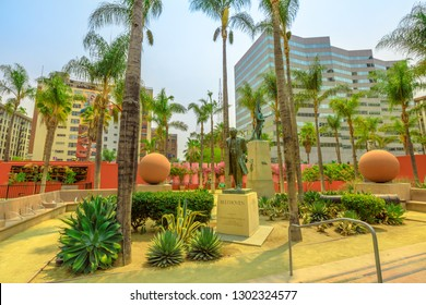 Los Angeles, California, United States - August 9, 2018: Beethoven statue at Pershing Square, the town's oldest park in Los Angeles Downtown, Southern California. Urban cityscape.