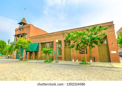 Los Angeles, California, United States - August 9, 2018: Old Plaza Firehouse, oldest firehouse in LA, 1884, now a fire brigade museum. El Pueblo is a State Historic Park, historic district in Downtown