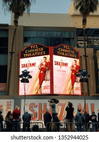 Los Angeles, California, United States – March 28, 2019: Shazam Film Premiere, Arrivals, Chinese Theater. Warner Bros. Pictures and DC comics Hollywood premiere of SHAZAM! Poster, banner on Hollywood