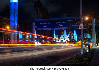 Los Angeles, California / United States - March 19, 2020: Long exposure of LAX entrance at night.
