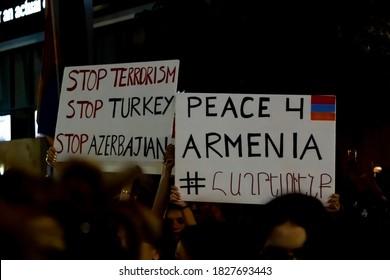 Los Angeles, California/ United States of America - October 4 2020: Armenians rallying at CNN building, demanding full media coverage of the ongoing Azerbaijan attacks on Artsakh/nagorno-karabakh.