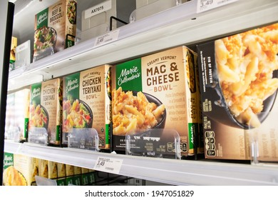 Los Angeles, California, United States - 03-18-2021: A view of several boxes of Marie Callender's frozen dinner bowls, on display at a local grocery store.
