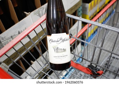 Los Angeles, California, United States - 04-06-2021: A view of a bottle of Chateau Ste Michelle Gewurtztraminer wine, on display at a local grocery store.