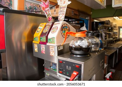 Los Angeles, California, United States - 10-02-2021: A view of a Juicy Whip aguas frescas drink dispenser at a local Mexican restaurant.