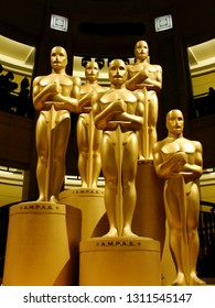 Los Angeles, California, Unites States- February 27, 2011: Five Oscar statues stand guard awaiting the Academy Awards ceremonies.