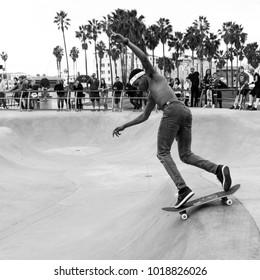 Los Angeles, California / USA - 01/03/2018: Isiah Hilt skating at Venice Beach Skate Park