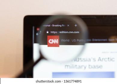 Los Angeles; California; USA - 05 April 2019: CNN website homepage. CNN logo visible on monitor screen