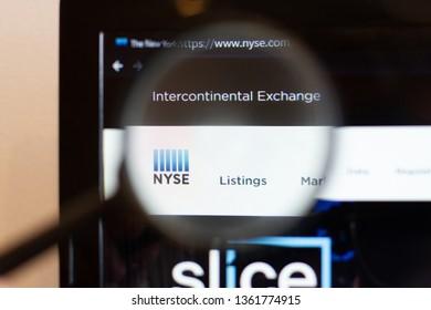 Los Angeles; California; USA - 05 April 2019: NYSE website homepage. NYSE logo visible on monitor screen