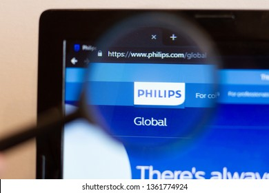 Los Angeles; California; USA - 05 April 2019: Philips website homepage. Philips    logo visible on monitor screen
