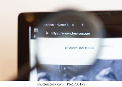 Los Angeles; California; USA - 05 April 2019: CHEVRON  website homepage. CHEVRON  logo visible on monitor screen