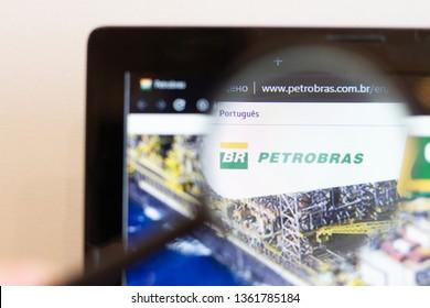 Los Angeles; California; USA - 05 April 2019: Petrobras website homepage. Petrobras  logo visible on monitor screen