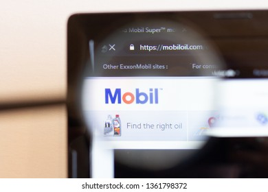 Los Angeles; California; USA - 05 April 2019: Mobil website homepage. Mobil logo visible on monitor screen