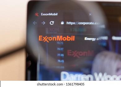 Los Angeles; California; USA - 05 April 2019: Exxon Mobil website homepage. Exxon Mobil logo visible on monitor screen