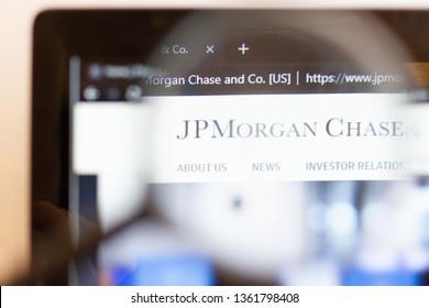 Los Angeles; California; USA - 05 April 2019: JP Morgan Chase website homepage. JP Morgan Chase logo visible on monitor screen