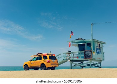 Los Angeles / California / U.S.A - 07.17.2014:  Famous Lifeguard Tower in Venice Beach L.A. Baywatch.