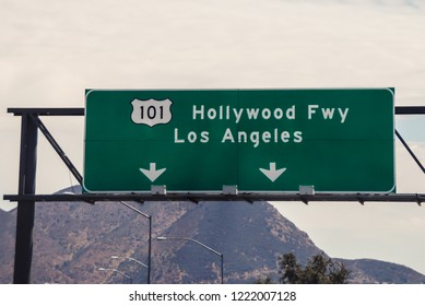 Los Angeles - California - USA - 08-10-2010: Hollywood and Los Angeles road sign