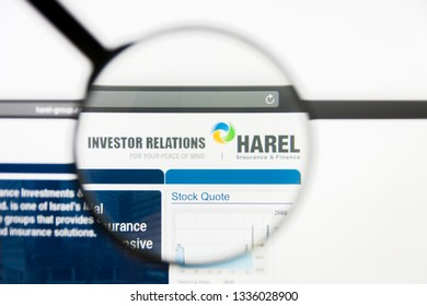 Los Angeles, California, USA - 10 March 2019: Illustrative Editorial, Harel Insurance Investments and Financial Services website homepage. Harel Insurance logo visible on display screen