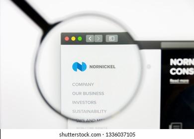 Los Angeles, California, USA - 10 March 2019: Illustrative Editorial, Norilsk Nickel website homepage. Norilsk Nickel logo visible on display screen