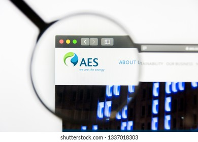 Los Angeles, California, USA - 12 March 2019: Illustrative Editorial, AES website homepage. AES logo visible on display screen