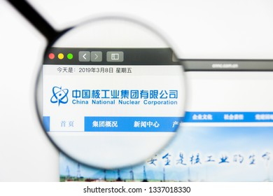 Los Angeles, California, USA - 12 March 2019: Illustrative Editorial, China National Nuclear Power website homepage. China National Nuclear Power logo visible on display screen