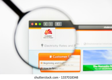 Los Angeles, California, USA - 12 March 2019: Illustrative Editorial, Chubu Electric Power website homepage. Chubu Electric Power logo visible on display screen