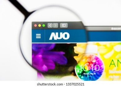 Los Angeles, California, USA - 12 March 2019: Illustrative Editorial, AU Optronics website homepage. AU Optronics logo visible on display screen