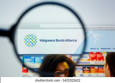 Los Angeles, California, USA - 12 June 2019: Illustrative Editorial of Walgreens Boots Alliance website homepage. Walgreens Boots Alliance logo visible on display screen.