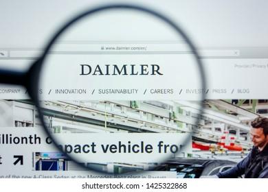 Los Angeles, California, USA - 12 June 2019: Illustrative Editorial of Daimler website homepage. Daimler logo visible on display screen.