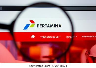 Los Angeles, California, USA - 12 June 2019: Illustrative Editorial of Pertamina website homepage. Pertamina logo visible on display screen.