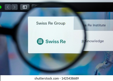 Los Angeles, California, USA - 12 June 2019: Illustrative Editorial of Swiss Re website homepage. Swiss Re logo visible on display screen.