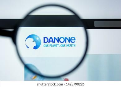 Los Angeles, California, USA - 12 June 2019: Illustrative Editorial of Danone website homepage. Danone logo visible on display screen.