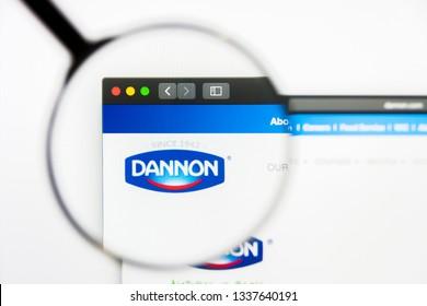 Los Angeles, California, USA - 13 March 2019: Illustrative Editorial, Danone website homepage. Danone logo visible on display screen