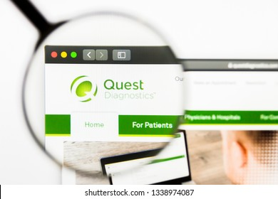 Los Angeles, California, USA - 13 March 2019: Illustrative Editorial, Quest Diagnostics website homepage. Quest Diagnostics logo visible on display screen