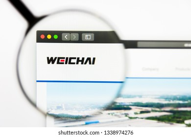 Los Angeles, California, USA - 13 March 2019: Illustrative Editorial, Weichai Power website homepage. Weichai Power logo visible on display screen