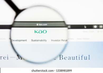 Los Angeles, California, USA - 13 March 2019: Illustrative Editorial, Kao Corp website homepage. Kao Corp logo visible on display screen