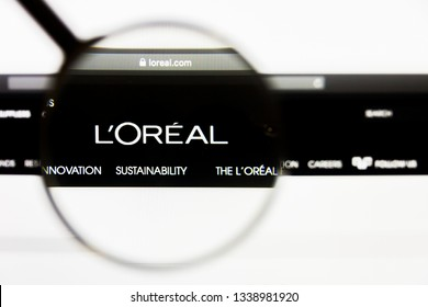 Los Angeles, California, USA - 13 March 2019: Illustrative Editorial, LOreal Group website homepage. LOreal Group logo visible on display screen