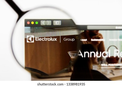 Los Angeles, California, USA - 13 March 2019: Illustrative Editorial, Electrolux Group website homepage. Electrolux Group logo visible on display screen