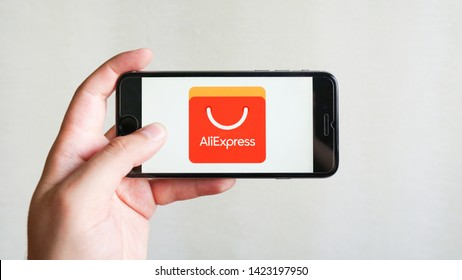 Los Angeles, California, USA - 13 June 2019.Aliexpress application icon on Apple iPhone  smartphone screen. Aliexpress app icon. Aliexpress.com is popular e-commerce application. Social media icon