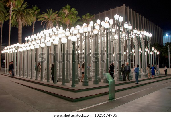 Los Angeles, California, USA - 13 June, 2014: Tourists in Los Angeles County Museum of Art