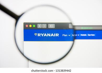 Los Angeles, California, USA - 14 February 2019: Ryanair Holdings airline website homepage. Ryanair Holdings logo visible on display screen.