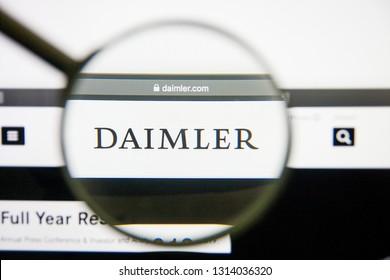 Los Angeles, California, USA - 14 February 2019: Daimler website homepage. Daimler logo visible on monitor screen.