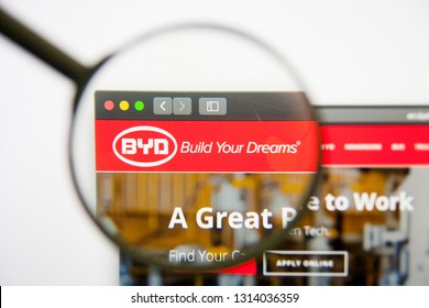 Los Angeles, California, USA - 14 February 2019: BYD website homepage. BYD logo visible on monitor screen.