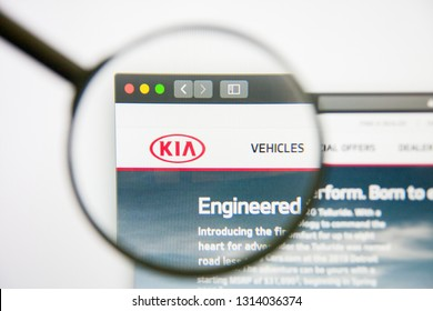 Los Angeles, California, USA - 14 February 2019: KIA Motors website homepage. KIA Motors logo visible on monitor screen.