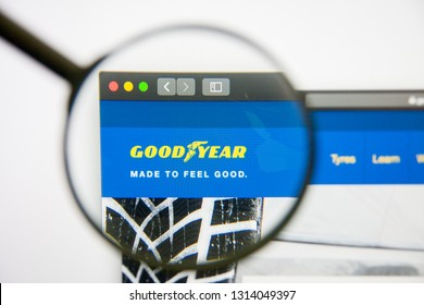 Los Angeles, California, USA - 14 February 2019: Goodyear website homepage. Goodyear logo visible on monitor screen.
