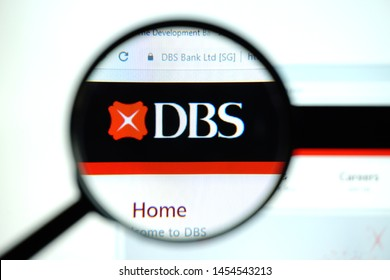 Los Angeles, California, USA - 17 July 2019: Official website, homepage of DBS . DBS logo visible on display screen