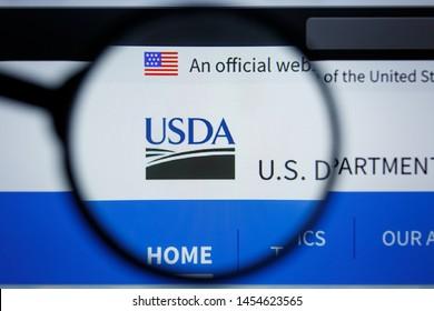 Los Angeles, California, USA - 17 Jule 2019: Illustrative Editorial of USDA website homepage. USDA logo visible on display screen.