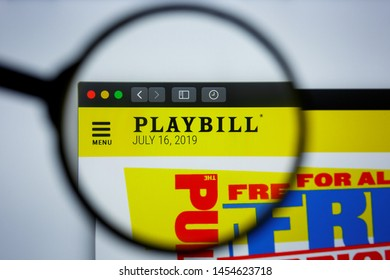 Los Angeles, California, USA - 17 Jule 2019: Illustrative Editorial of Playbill website homepage. Playbill logo visible on display screen.