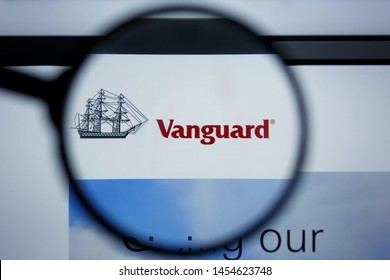 Los Angeles, California, USA - 17 Jule 2019: Illustrative Editorial of VANGUARD website homepage. VANGUARD logo visible on display screen.