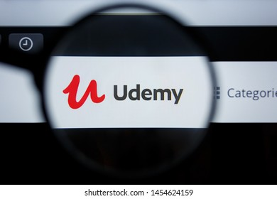 Los Angeles, California, USA - 17 Jule 2019: Illustrative Editorial of Udemy website homepage. Udemy logo visible on display screen.